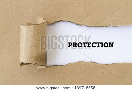 protection word written under torn paper .