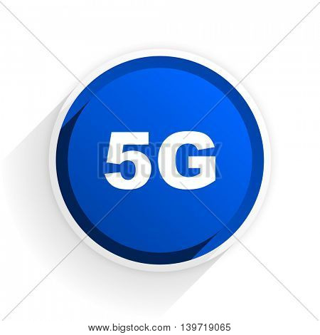 5g flat icon with shadow on white background, blue modern design web element