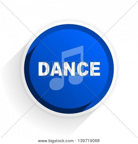 dance music flat icon with shadow on white background, blue modern design web element
