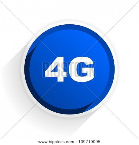 4g flat icon with shadow on white background, blue modern design web element