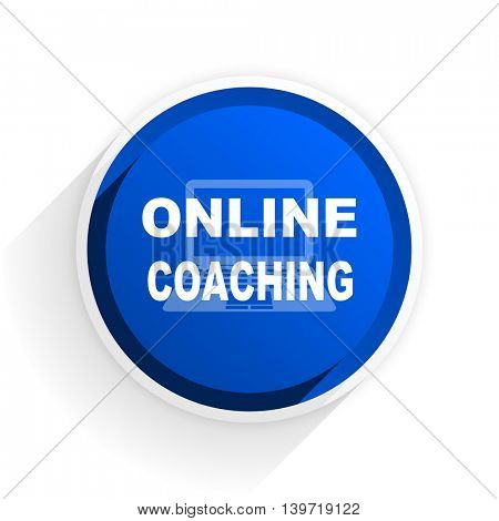 online coaching flat icon with shadow on white background, blue modern design web element