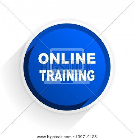 online training flat icon with shadow on white background, blue modern design web element