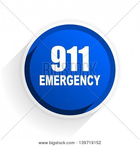 number emergency 911 flat icon with shadow on white background, blue modern design web element