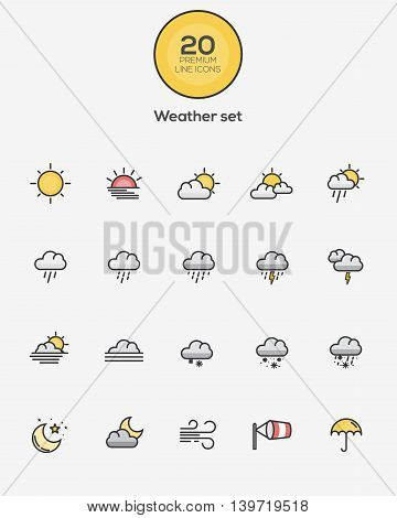 Set of Flat Line Color Weather icons. Vector