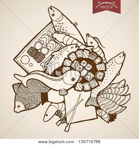 Engraving vintage hand vector fish shrimp sushi roll Sketch