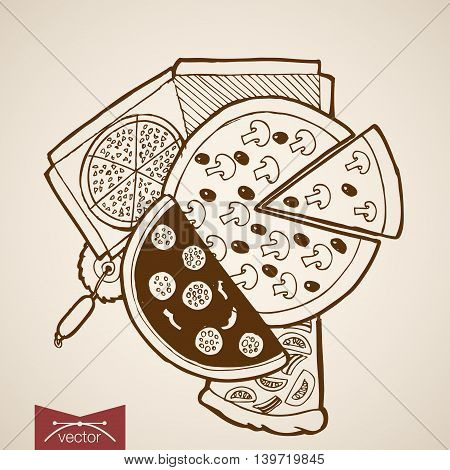 Engraving vintage hand drawn vector pizzeria pizza food Sketch