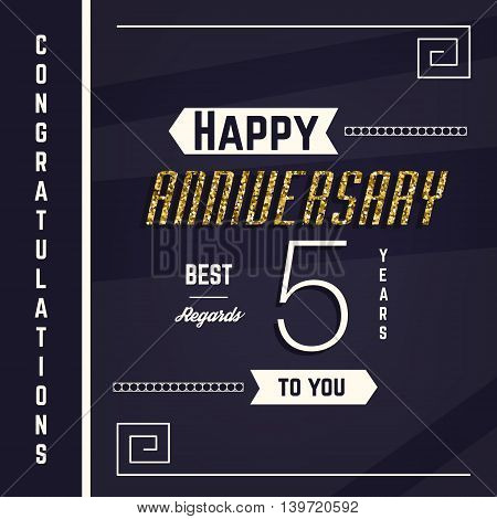 5th anniversary decorated greeting card template with gold elements.