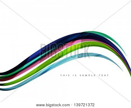 Color stripes with shiny light effects, wave line abstract background - color curve lines in motion concept and with light and shadow effects. Presentation banner and business card message design