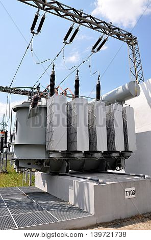 Modern big voltage transformers at the substation