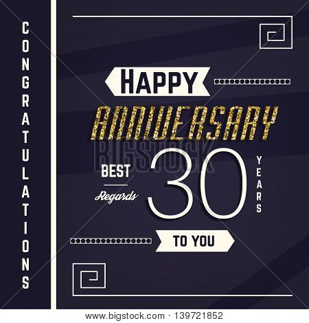 30th anniversary decorated greeting card template with gold elements.