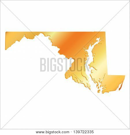 3D Maryland (USA) Gold Boundary map with shadow, vector