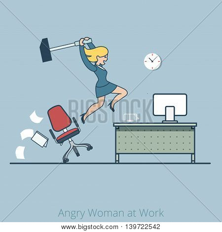 Linear Flat crash desk hummer Angry woman work Business vector