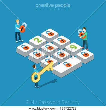 Flat isometric man lock button vector Security Password PIN 3d