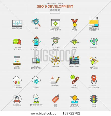 Flat Line Modern Color icons for Seo and Development. Vector
