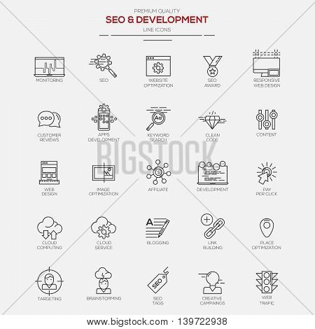 Flat Line Modern icons for Seo and Development. Vector
