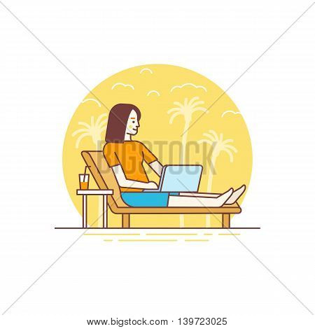 Vector Illustration In Flat Linear Style And Blue Colors - Remote Work Concept
