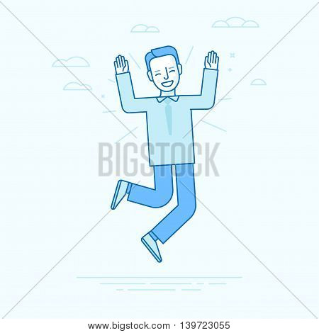 Vector Illustration In Flat Linear Style And Blue Colors - Happy Jumping Businessman