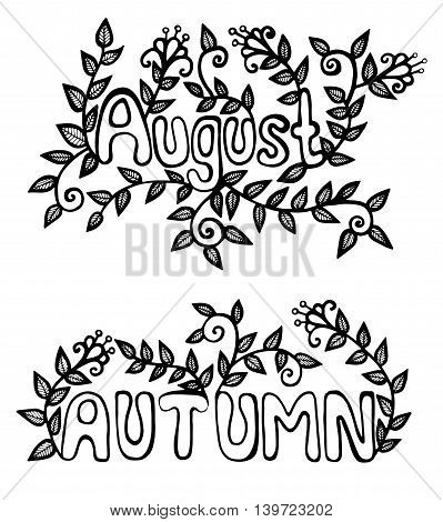 Inscription august and autumn with flower and green leaves. Black line template of greeting card isolated for coloring book or page.