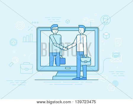 Vector Illustration In Flat Linear Style And Blue - Outsource Business And Remote Work Concept