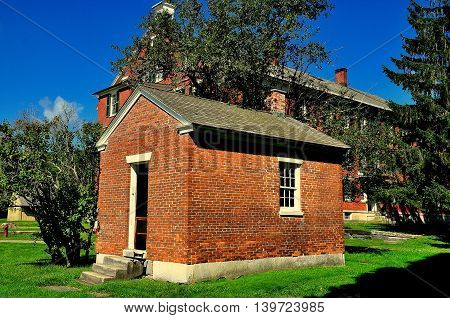 Hancock Massachusetts - September 17 2014: The small brick Ministry Wash House at the Hancock Shaker Village *