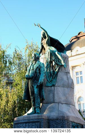 Sculpture of poet Preseren in Ljubljana square in Slovenia