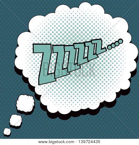 Sleep comic speech bubble. Pop-art style. Cartoon design