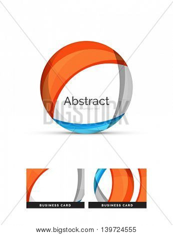 Circle logo. Transparent overlapping swirl shapes. Modern clean business icon. illustration.