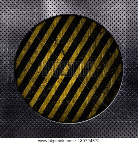 Metallic background with circle cut out and yellow and black grunge stripes