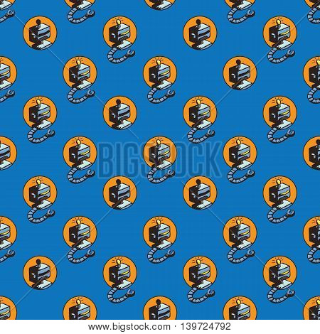 Vector illustration of doodle hand drawn seamless pattern with retro robots for wallpapers, scrap book, web page backgrounds,textile