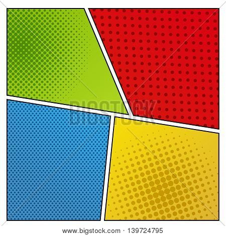 Mock-up of different backgrounds for comic book. Four scenes with halftone effects and dotted surface. Pop-art style. vector