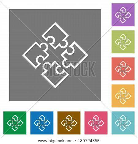 Puzzle contour flat icon set on color square background.