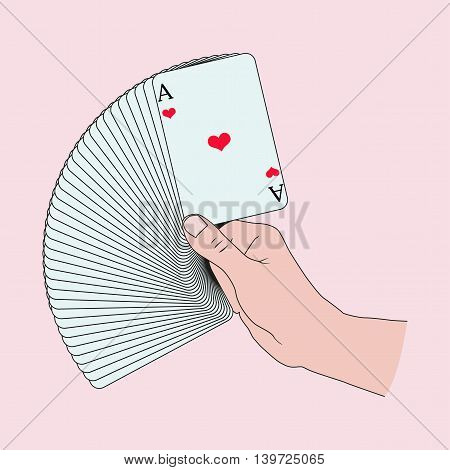Card tricks. Deck of cards in the hand.