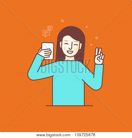 Vector Illustration In Flat Linear Style And Blue Colors -woman Making Selfie