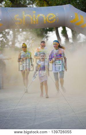 MAMAIA, CONSTANTA, ROMANIA - AUGUST 1: Mamaia color run 2015, in Mamaia, Constanta, on August 1, 2015. People from all walks of life participating in the fun