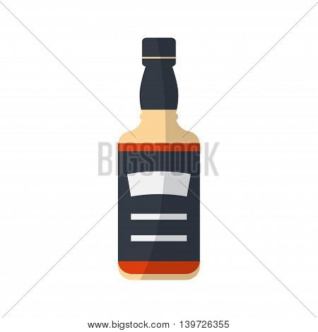 Whiskey bottle isolated on white background. Serving alcohol icon . Simple flat vector.