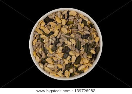 Mixed Seeds In Wooden Bowl