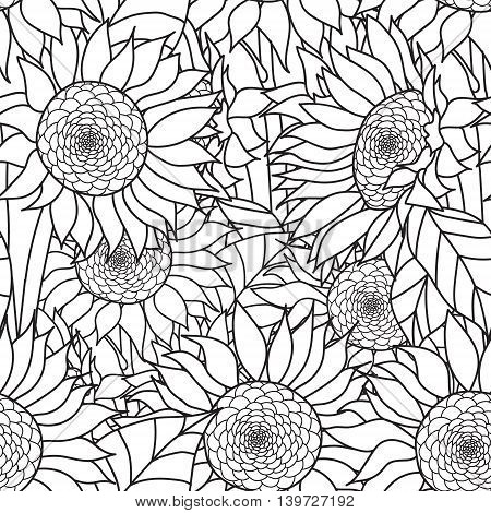 Seamless Sunflowers bouquet. Vector. Coloring book page for adults. Hand drawn artwork. Love bohemia concept for wedding invitation, card, ticket, branding, logo, label. Gift for girl, women. Black and white