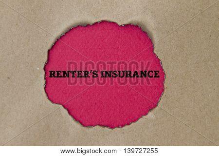 RENTER'S INSURANCE written under torn paper concept.