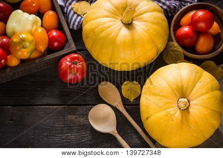 Autumn Nature Concept. Fall  Vegetables On Dark Wooden Background.