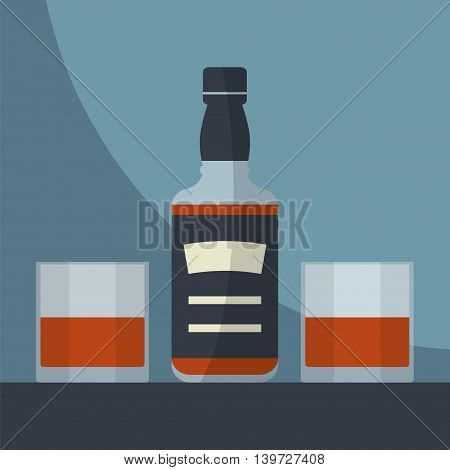 Whiskey bottle with two glasses filled. Serving alcohol. Simple flat vector.