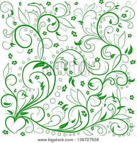 Green leaves with abstract swirls leaves flowers and hearе on a white background. Can be used as a background decor decoupage textile invitation.