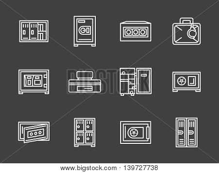 Closed metal lockers, cabinets and safe boxes. Equipment and furniture for storage room, wardrobe, gym, school and others. Set of simple white line style vector icons on black background.