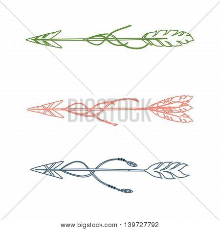 Set of three decorative vector hand drawn arrows.