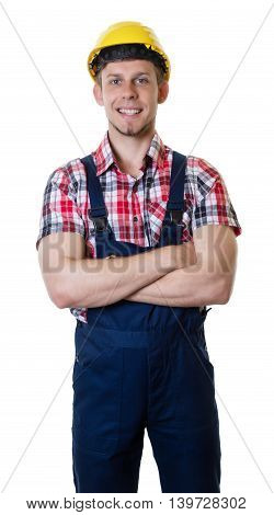Caucasian construction worker with crossed arms on an isolated white background for cut out