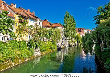 Green riverfront of Ljubljana old houses on Ljubljanica river capital of Slovenia