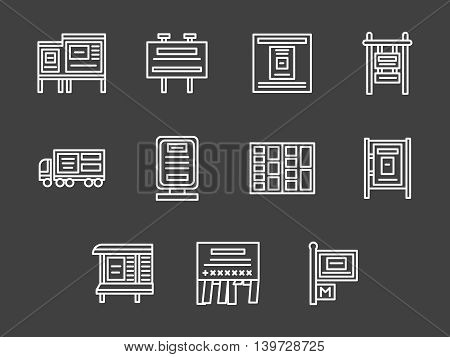 Marketing and promotion elements. Places and sites for outdoor and indoor advertising. Business and commerce. Set of simple white line style vector icons on black background.