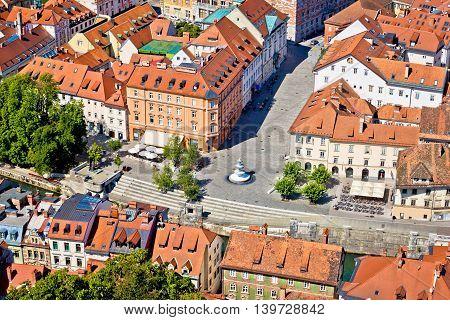 Novi square and fountain in Ljubljana aerial view capital of Slovenia