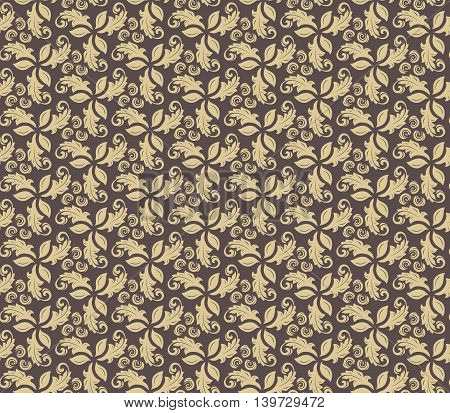 Floral vector ornament. Seamless abstract classic pattern with flowers. Brown and golden pattern