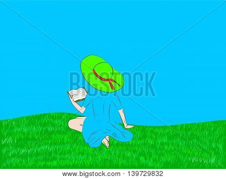 girl reading a book in a meadow