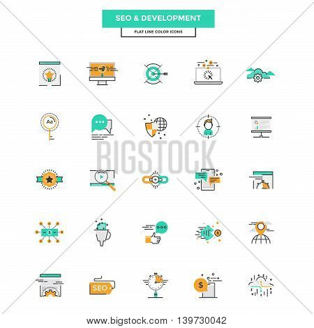 Set of Modern Flat Line icon Concept of Seo Development Management Online Marketing Research and Analysis use in Web Project and Applications. Vector Illustration